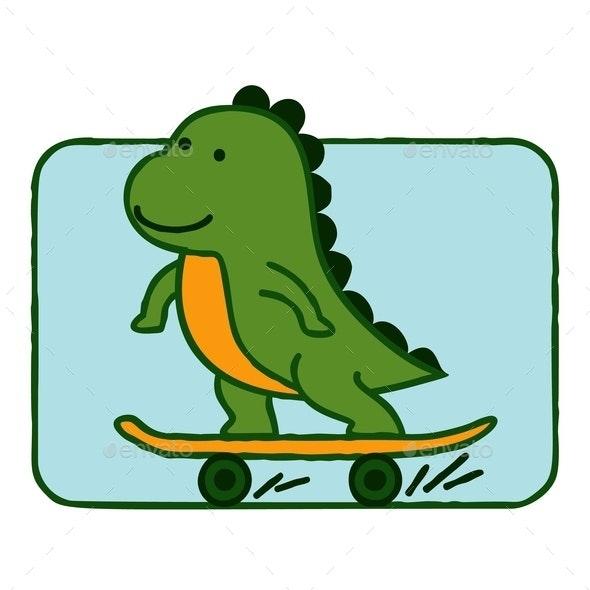 Dinosaur Riding Skateboard - Miscellaneous Characters
