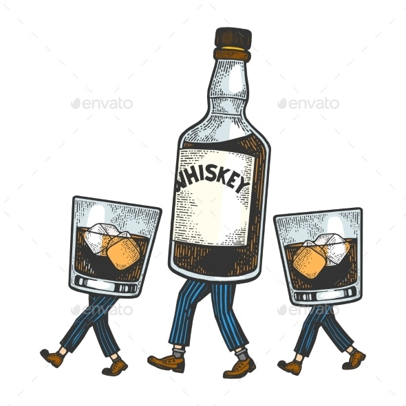 Whiskey Walks on its Feet Sketch Engraving Vector - Miscellaneous Vectors