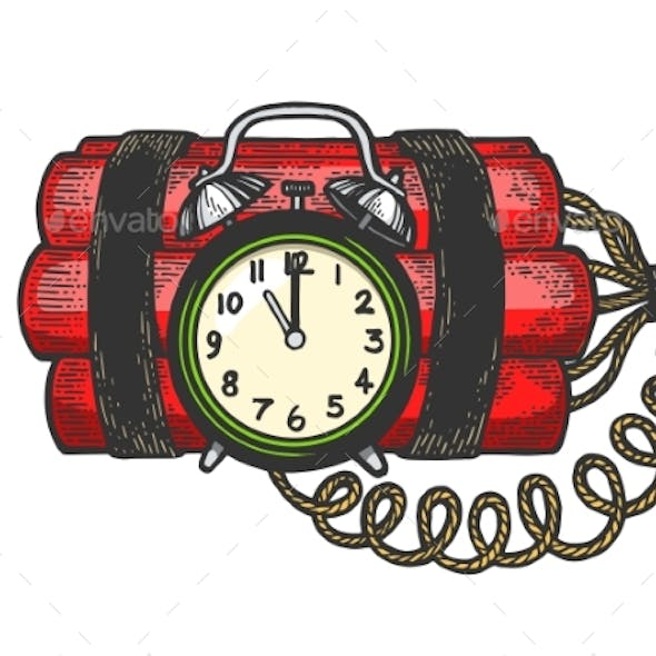 Time Bomb Color Sketch Engraving Vector