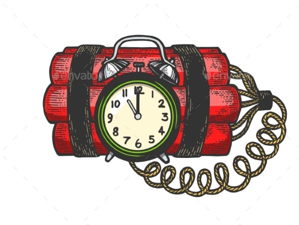 Time Bomb Color Sketch Engraving Vector - Man-made Objects Objects