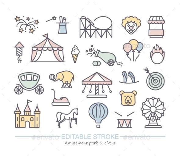 Linear Icons with Editable Stroke on the Theme Park - Industries Business