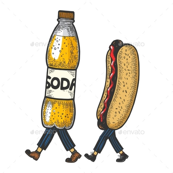 Hot Dog and Soda Walks - Food Objects