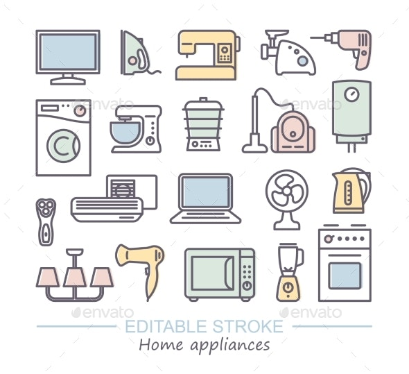 Home Appliances Linear Icon Set - Man-made Objects Objects