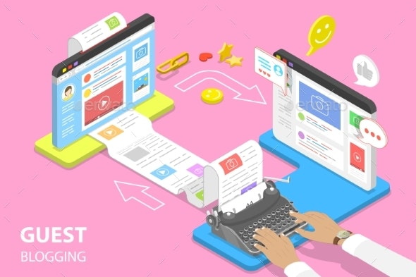 Isometric Flat Vector Concept of Guest Blogging - Web Technology