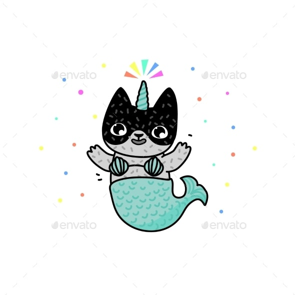 Cartoon Cat with a Tail of a Mermaid - Animals Characters