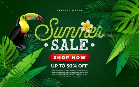 Summer Sale Design with Flower and Toucan Bird - Flowers & Plants Nature