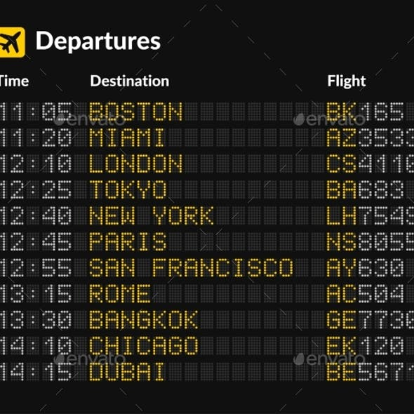 LED Airport Board Isolated Template on Dark