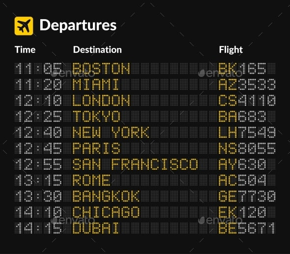 LED Airport Board Isolated Template on Dark - Man-made Objects Objects