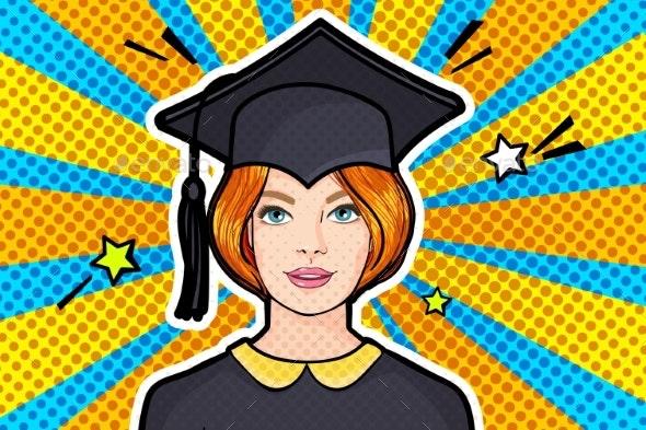 Concept of a Graduating Class Girl in Graduation - Miscellaneous Vectors