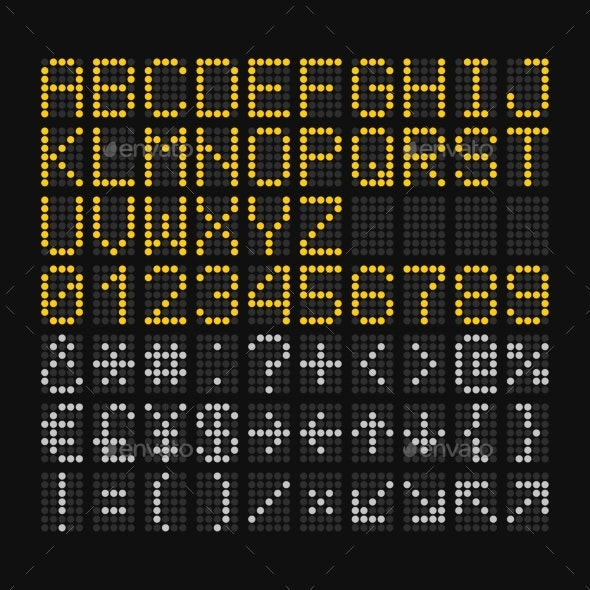 LED Digital Font on Black Background for Airport - Miscellaneous Vectors