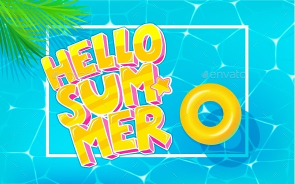 Hello Summer Message in Pop Art Style on Marine - Miscellaneous Vectors
