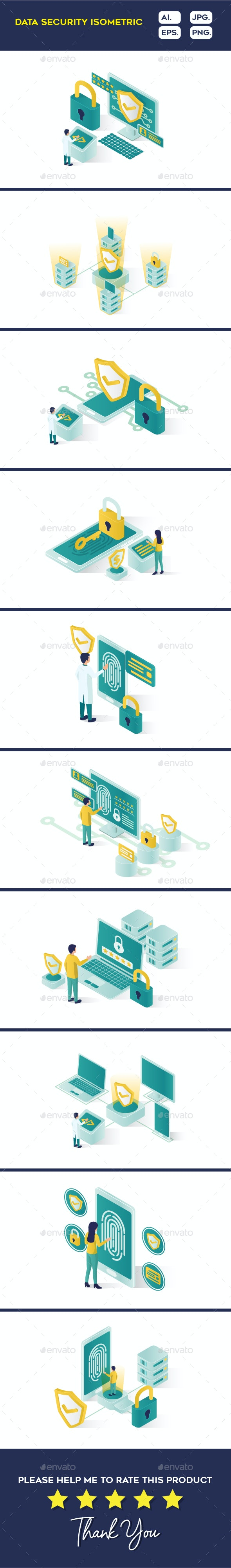 Isometric Data Security Illustration - Computers Technology