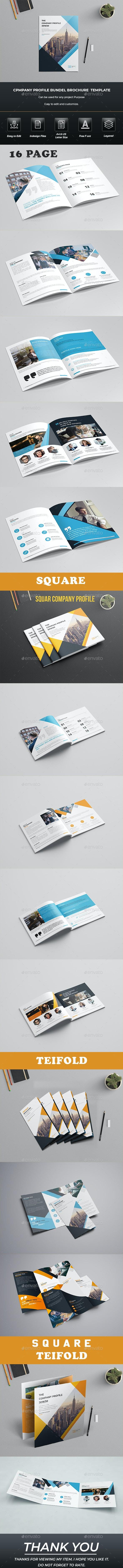 Company Profile Brochure Bundle Template - Brochures Print Templates