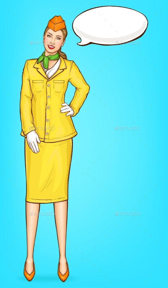 Pop Art Stewardess, Flight Attendant, Air Hostess - People Characters
