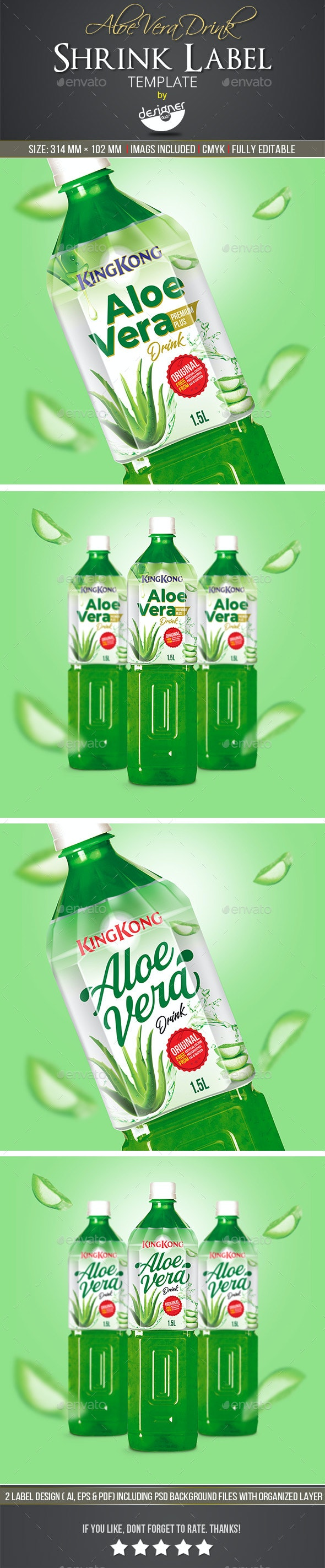 Aloe Vera Drink Label Template - Packaging Print Templates