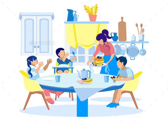 Family Breakfast in Kitchen at Home Illustration - People Characters