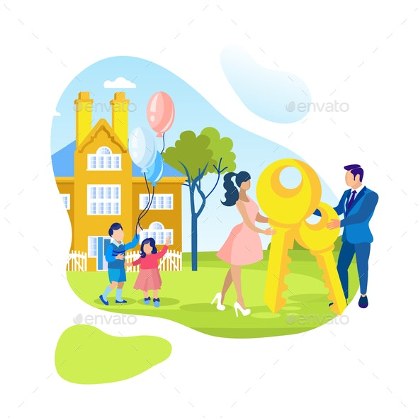 Young Family and New Luxury Townhouse Illustration - People Characters