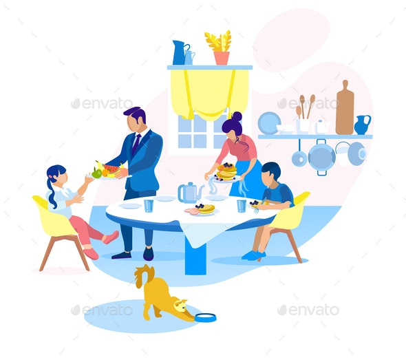 Family Breakfast with Fruits and Pancakes at Home - People Characters