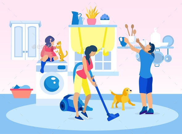 Happy Family Cleaning Home Together Illustration - People Characters