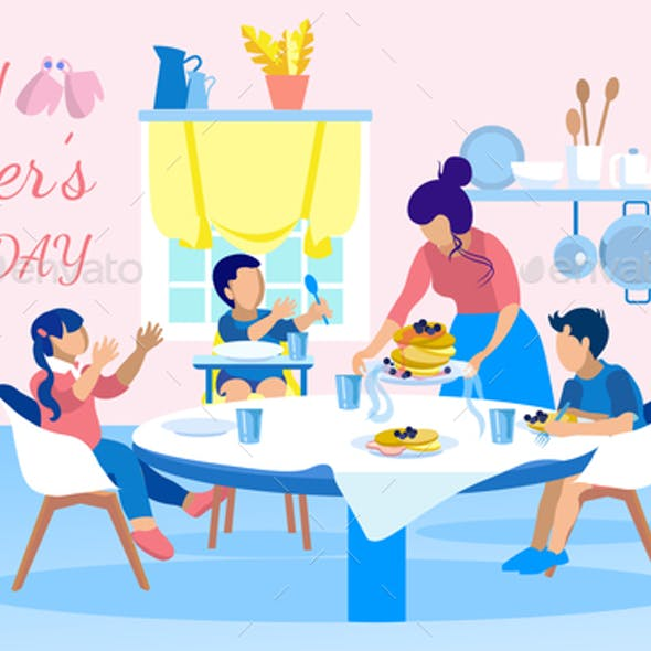 Happy Mothers Day Greeting Banner with Family