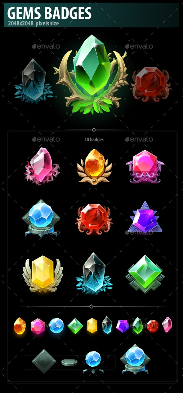 Gems Badges - Miscellaneous Game Assets