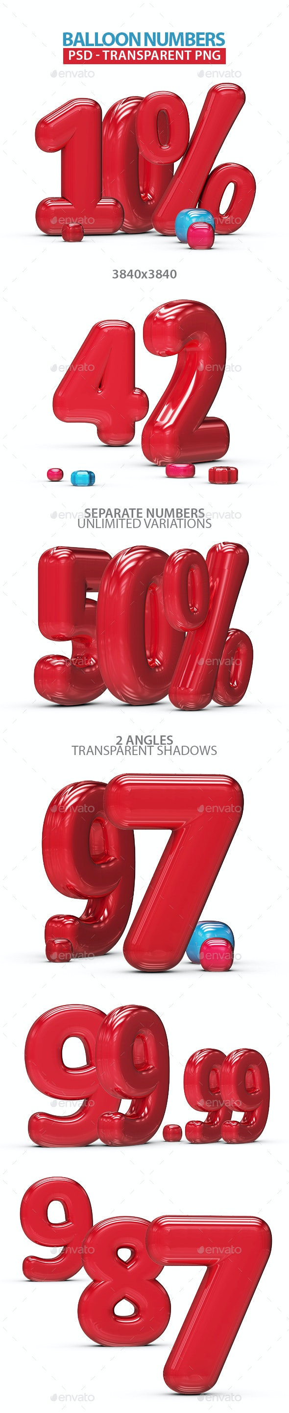 Inflated Balloon Numbers - Text 3D Renders