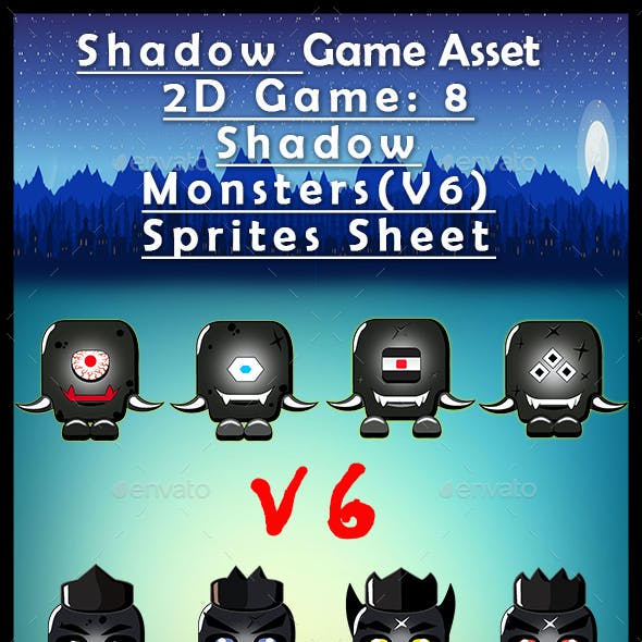 Shadow Game Asset  2D Game: 8 Shadow Monsters(V6) Sprites Sheet