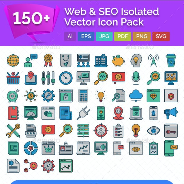 150+ Web and SEO Isolated Vector Icons Pack