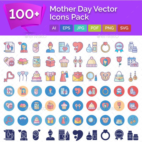 100+ Mother Day Vector Icons Pack