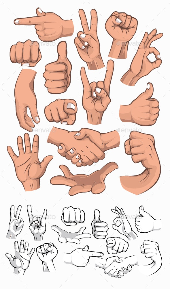 Hand Gesture Set - People Characters