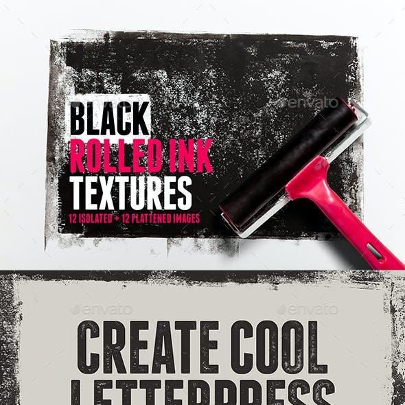 12 Black Rolled Ink Textures