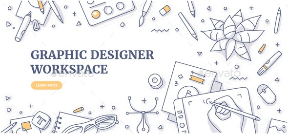 Graphic Designer Workspace Doodle Background Concept - Backgrounds Decorative