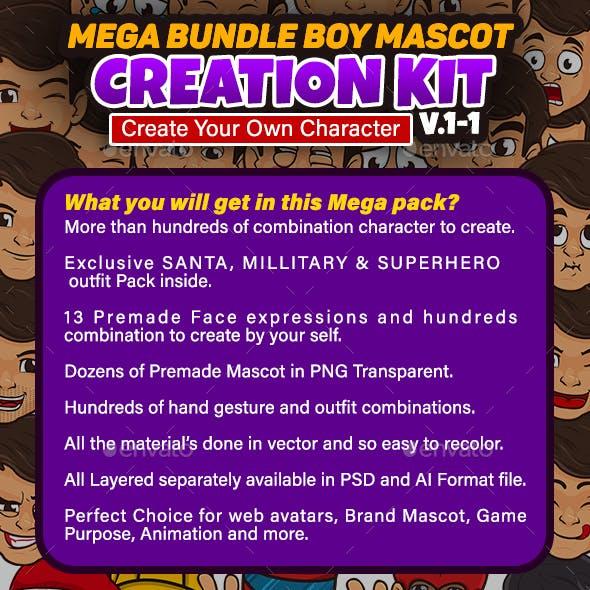 Boy Mascot Creation Kit Bundle
