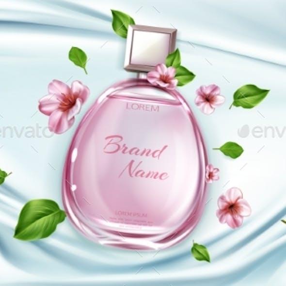 Perfume Bottle with Sakura Flowers Ad Background