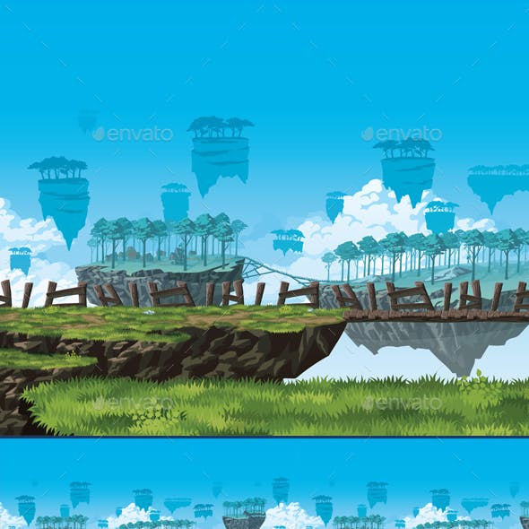 Fantasy Background of a Flying Islands