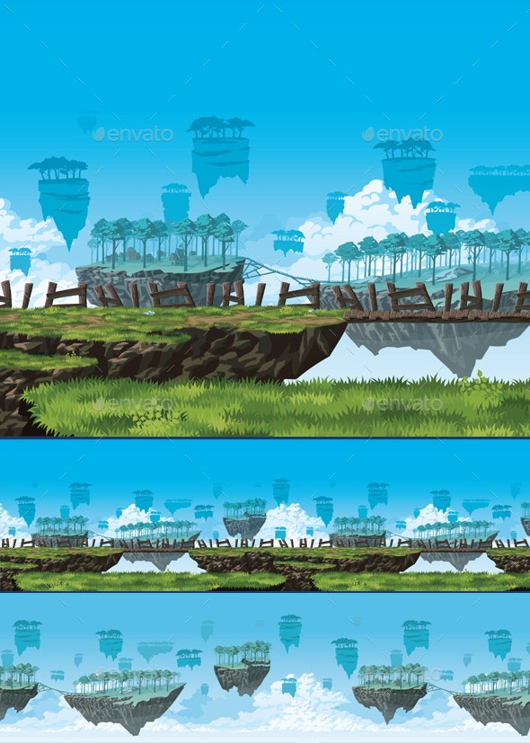 Fantasy Background of a Flying Islands - Backgrounds Game Assets