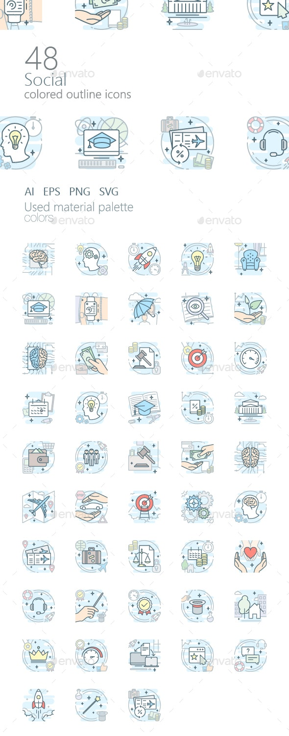 Social Icon Set (Colored Outline)