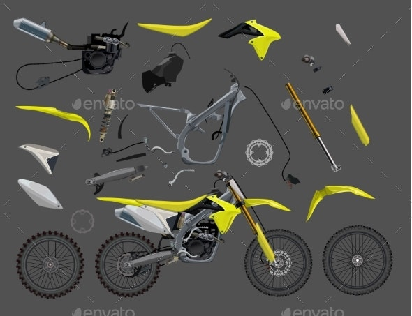 Motorcycle Parts Set - Man-made Objects Objects