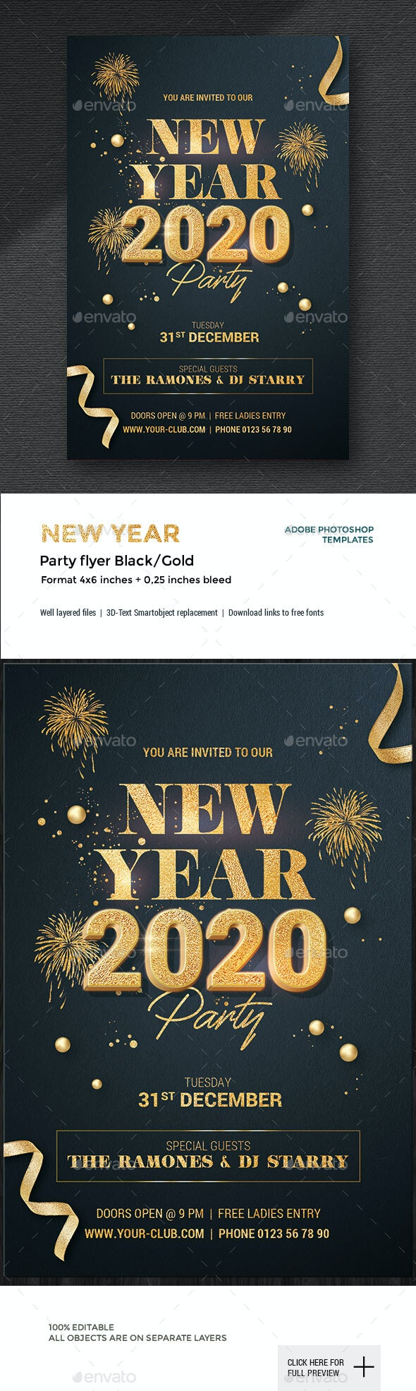 New Year Party Flyer - Black/Gold - Holidays Events