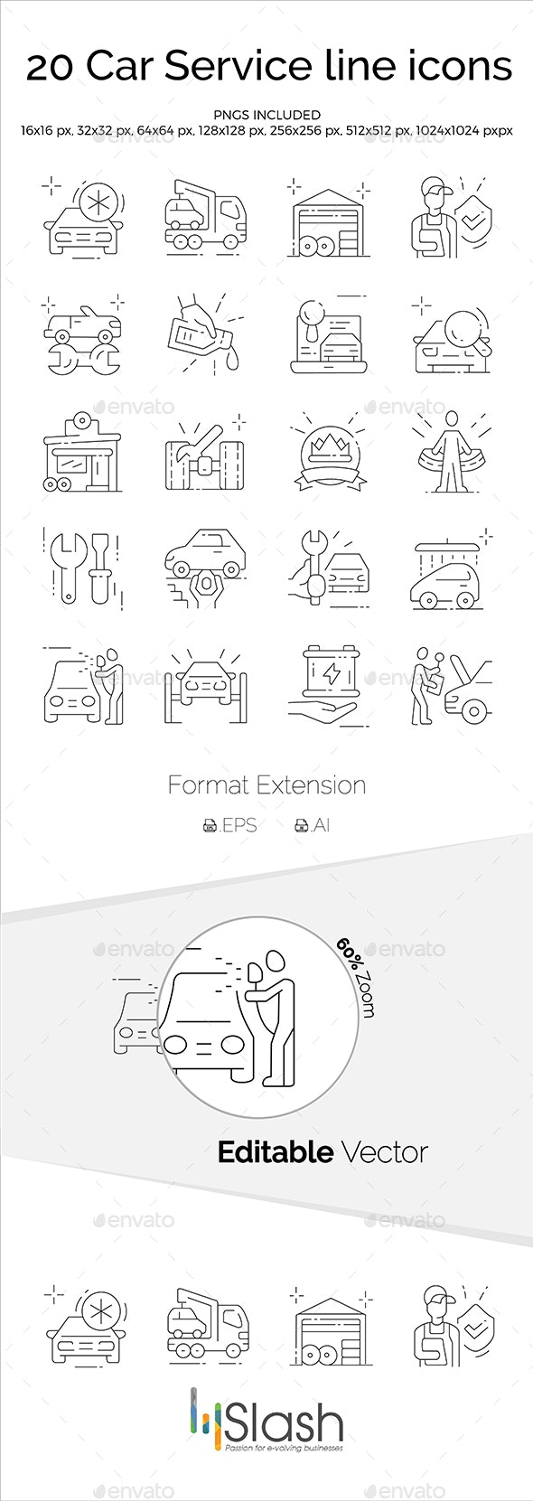 Car Service Line Icons - Miscellaneous Icons