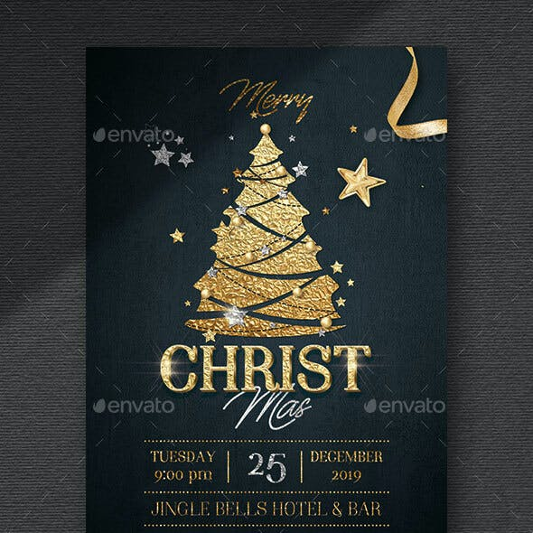 Christmas Party Flyer - Gold Foil
