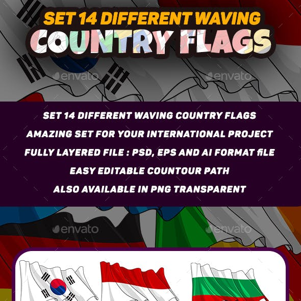 14 Set Different Waving Country Flag