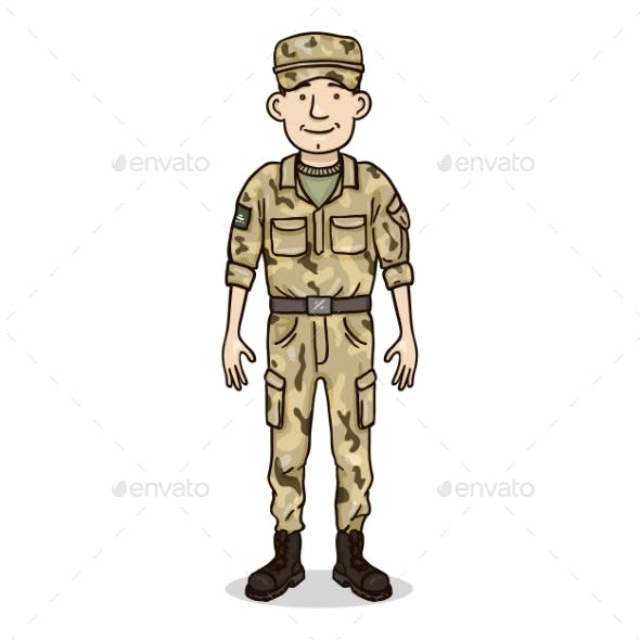 Vector Cartoon Character - Young Man in Military