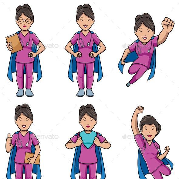 Super Nurse Asian Female Set