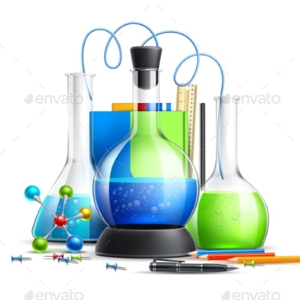 Vector 3d Chemical Laboratory Tubes Flask Set