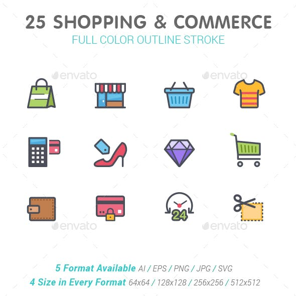 25 Shopping & Commerce Color Icon