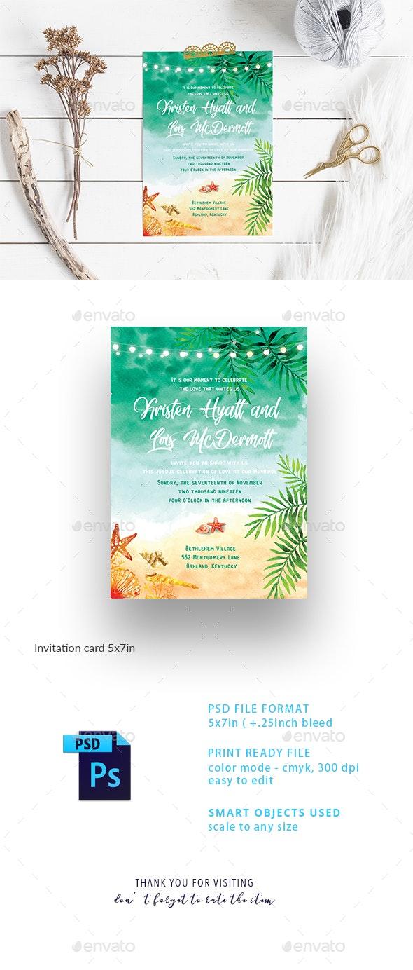 Beach Wedding Invitation Card - Weddings Cards & Invites