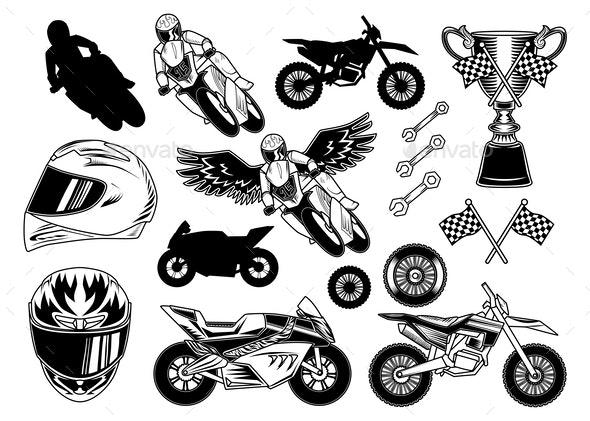 Set of Motorcycle Elements - Miscellaneous Vectors