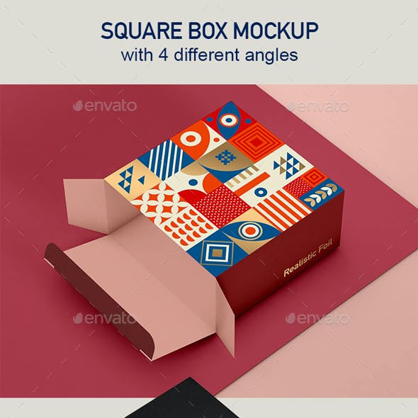Box Mockup for Packaging Showcase with 4 views