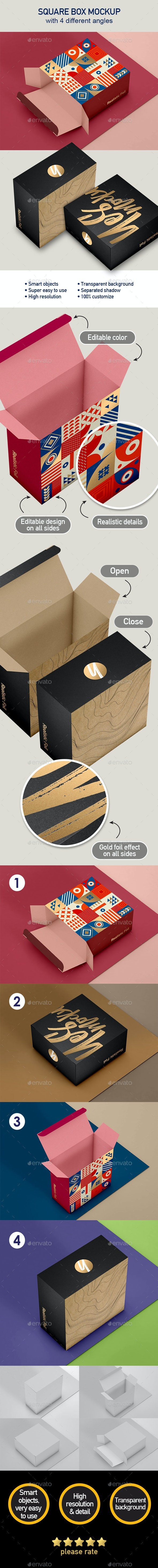 Box Mockup for Packaging Showcase with 4 views - Packaging Product Mock-Ups